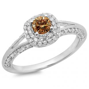 0.90 Carat (ctw) 14K White Gold Round Cut Champagne & White Diamond Ladies Bridal Split Shank Halo Style Engagement Ring