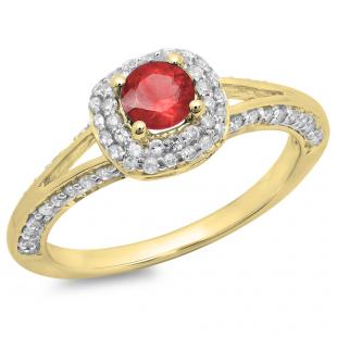 0.90 Carat (ctw) 14K Yellow Gold Round Cut Ruby & White Diamond Ladies Bridal Split Shank Halo Style Engagement Ring
