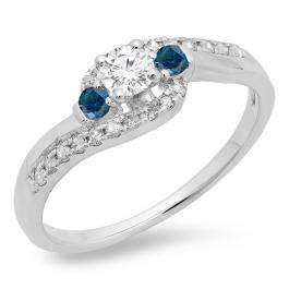 0.50 Carat (ctw) 14K White Gold Round Cut Blue & White Diamond Ladies Bridal Bypass Swirl 3 Stone Engagement Ring 1/2 CT