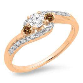 0.50 Carat (ctw) 14K Rose Gold Round Cut Champagne & White Diamond Ladies Bridal Bypass Swirl 3 Stone Engagement Ring 1/2 CT