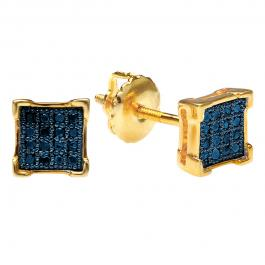 0.10 Carat (ctw) 18K Yellow Gold Plated Sterling Silver Blue Diamond V-Prong Square Mens Hip Hop Iced Stud Earrings