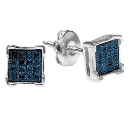 0.05 Carat (ctw) Platinum Plated Sterling Silver Round Blue Diamond V Prong Square Shape Men's Hip Hop Iced Stud Earrings