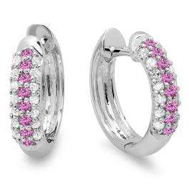 0.30 Carat (ctw) 18K White Gold Round Pink Sapphire & White Diamond Ladies Pave Set Huggies Hoop Earrings 1/3 CT