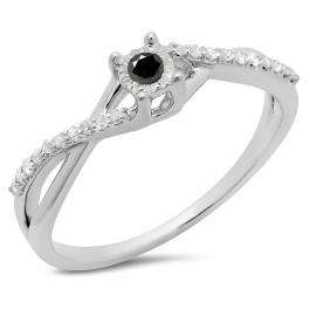 0.20 Carat (ctw) 18K White Gold Round Black & White Diamond Ladies Swirl Split Shank Promise Engagement Ring 1/5 CT