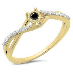 0.20 Carat (ctw) 18K Yellow Gold Round Black & White Diamond Ladies Swirl Split Shank Promise Engagement Ring 1/5 CT
