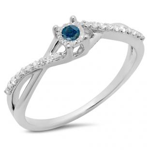 0.20 Carat (ctw) 10K White Gold Round Blue & White Diamond Ladies Swirl Split Shank Promise Engagement Ring 1/5 CT