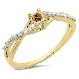 0.20 Carat (ctw) 10K Yellow Gold Round Champagne & White Diamond Ladies Swirl Split Shank Promise Engagement Ring 1/5 CT