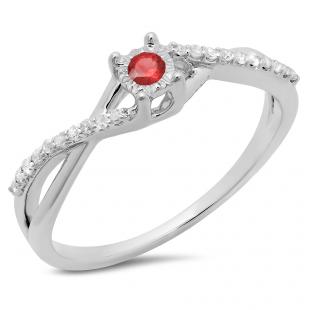 0.20 Carat (ctw) 14K White Gold Round Ruby & White Diamond Ladies Swirl Split Shank Promise Engagement Ring 1/5 CT