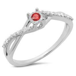 0.20 Carat (ctw) 18K White Gold Round Ruby & White Diamond Ladies Swirl Split Shank Promise Engagement Ring 1/5 CT