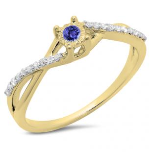 0.20 Carat (ctw) 14K Yellow Gold Round Tanzanite & White Diamond Ladies Swirl Split Shank Promise Engagement Ring 1/5 CT