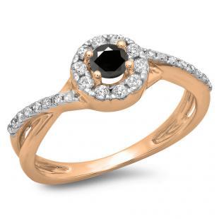 0.50 Carat (ctw) 10K Rose Gold Round Cut Black & White Diamond Ladies Swirl Split Shank Bridal Halo Engagement Ring 1/2 CT
