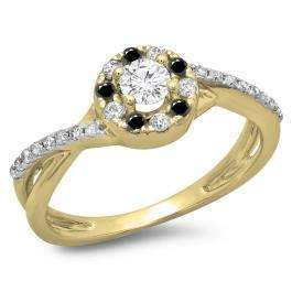 0.50 Carat (ctw) 18K Yellow Gold Round Cut Black & White Diamond Ladies Swirl Split Shank Bridal Halo Engagement Ring 1/2 CT
