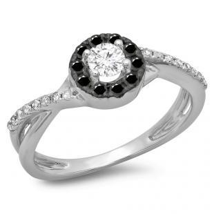 0.50 Carat (ctw) 14K White Gold Round Cut Black & White Diamond Ladies Swirl Split Shank Bridal Halo Engagement Ring 1/2 CT