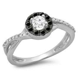 0.50 Carat (ctw) 18K White Gold Round Cut Black & White Diamond Ladies Swirl Split Shank Bridal Halo Engagement Ring 1/2 CT