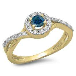 0.50 Carat (ctw) 10K Yellow Gold Round Cut Blue & White Diamond Ladies Swirl Split Shank Bridal Halo Engagement Ring 1/2 CT