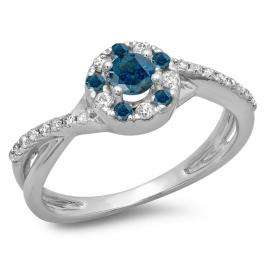 0.50 Carat (ctw) 18K White Gold Round Cut Blue & White Diamond Ladies Swirl Split Shank Bridal Halo Engagement Ring 1/2 CT