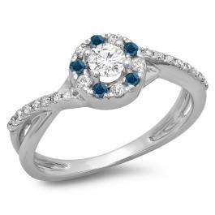 0.50 Carat (ctw) 10K White Gold Round Cut Blue & White Diamond Ladies Swirl Split Shank Bridal Halo Engagement Ring 1/2 CT