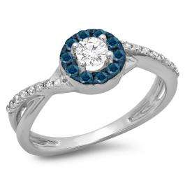 0.50 Carat (ctw) 10K White Gold Round Cut Blue & White Diamond Ladies Swirl Split Shank Bridal Halo Engagement Ring 1/2 CT