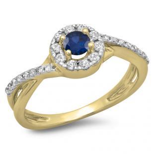 0.50 Carat (ctw) 14K Yellow Gold Round Cut Blue Sapphire & White Diamond Ladies Swirl Split Shank Bridal Halo Engagement Ring 1/2 CT