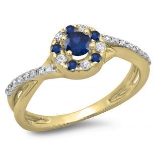 0.50 Carat (ctw) 10K Yellow Gold Round Cut Blue Sapphire & White Diamond Ladies Swirl Split Shank Bridal Halo Engagement Ring 1/2 CT