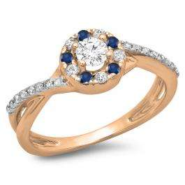 0.50 Carat (ctw) 10K Rose Gold Round Cut Blue Sapphire & White Diamond Ladies Swirl Split Shank Bridal Halo Engagement Ring 1/2 CT