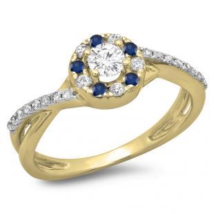 0.50 Carat (ctw) 18K Yellow Gold Round Cut Blue Sapphire & White Diamond Ladies Swirl Split Shank Bridal Halo Engagement Ring 1/2 CT