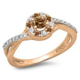0.50 Carat (ctw) 10K Rose Gold Round Cut Champagne & White Diamond Ladies Swirl Split Shank Bridal Halo Engagement Ring 1/2 CT