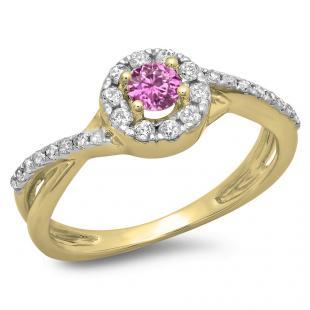0.50 Carat (ctw) 14K Yellow Gold Round Cut Pink Sapphire & White Diamond Ladies Swirl Split Shank Bridal Halo Engagement Ring 1/2 CT