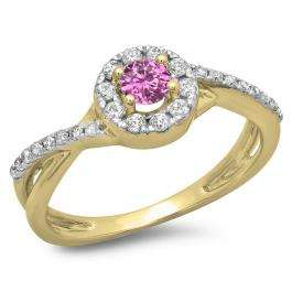 0.50 Carat (ctw) 18K Yellow Gold Round Cut Pink Sapphire & White Diamond Ladies Swirl Split Shank Bridal Halo Engagement Ring 1/2 CT