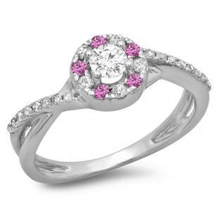 0.50 Carat (ctw) 10K White Gold Round Cut Pink Sapphire & White Diamond Ladies Swirl Split Shank Bridal Halo Engagement Ring 1/2 CT