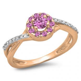 0.50 Carat (ctw) 14K Rose Gold Round Cut Pink Sapphire & White Diamond Ladies Swirl Split Shank Bridal Halo Engagement Ring 1/2 CT