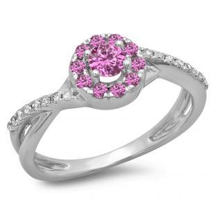 0.50 Carat (ctw) 18K White Gold Round Cut Pink Sapphire & White Diamond Ladies Swirl Split Shank Bridal Halo Engagement Ring 1/2 CT
