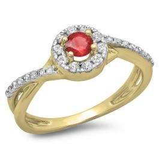 0.50 Carat (ctw) 14K Yellow Gold Round Cut Ruby & White Diamond Ladies Swirl Split Shank Bridal Halo Engagement Ring 1/2 CT