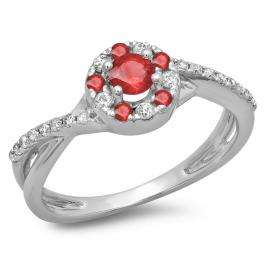 0.50 Carat (ctw) 14K White Gold Round Cut Ruby & White Diamond Ladies Swirl Split Shank Bridal Halo Engagement Ring 1/2 CT