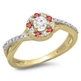 0.50 Carat (ctw) 10K Yellow Gold Round Cut Ruby & White Diamond Ladies Swirl Split Shank Bridal Halo Engagement Ring 1/2 CT