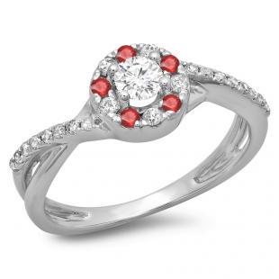 0.50 Carat (ctw) 18K White Gold Round Cut Ruby & White Diamond Ladies Swirl Split Shank Bridal Halo Engagement Ring 1/2 CT