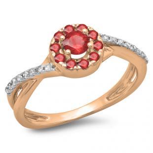 0.50 Carat (ctw) 10K Rose Gold Round Cut Ruby & White Diamond Ladies Swirl Split Shank Bridal Halo Engagement Ring 1/2 CT