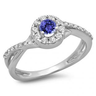 0.50 Carat (ctw) 10K White Gold Round Cut Tanzanite & White Diamond Ladies Swirl Split Shank Bridal Halo Engagement Ring 1/2 CT