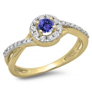 0.50 Carat (ctw) 18K Yellow Gold Round Cut Tanzanite & White Diamond Ladies Swirl Split Shank Bridal Halo Engagement Ring 1/2 CT