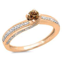 0.50 Carat (ctw) 18K Rose Gold Round Champagne & White Diamond Ladies Swirl Promise Solitaire With Accents Engagement Ring 1/2 CT