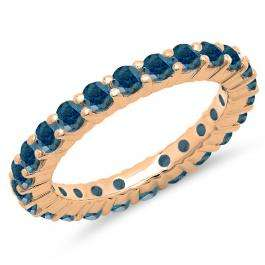 1.00 Carat (ctw) 18K Rose Gold Round Blue Diamond Ladies Eternity Wedding Anniversary Stackable Ring Band