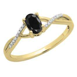 0.50 Carat (ctw) 18K Yellow Gold Oval Cut Black Sapphire & Round Cut White Diamond Ladies Bridal Swirl Split Shank Engagement Promise Ring 1/2 CT