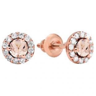 0.60 Carat (ctw) 18K Rose Gold Real Round Cut Morganite & White Diamond Ladies Cluster Halo Style Stud Earrings