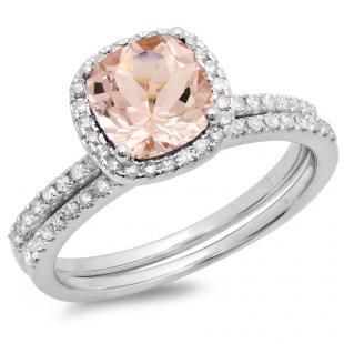 1.60 Carat (ctw) 10K White Gold Cushion Cut Morganite & Round Cut White Diamond Ladies Bridal Halo Engagement Ring With Matching Band Set