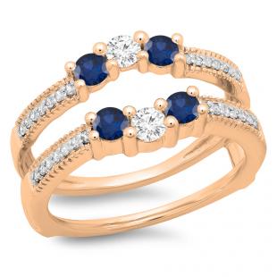 0.80 Carat (ctw) 14K Rose Gold Round Cut Blue Sapphire & White Diamond Ladies Anniversary Wedding Band 3 Stone Enhancer Guard Double Ring 3/4 CT