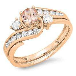 0.90 Carat (ctw) 14K Rose Gold Round Morganite & White Sapphire Ladies Swirl Bridal Engagement Ring Matching Band Set