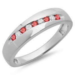 0.33 Carat (ctw) Sterling Silver Round Cut Ruby & White Diamond Men's Stackable Anniversary Wedding Band 1/3 CT
