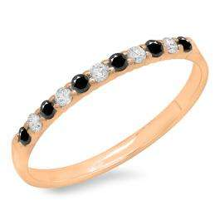 0.20 Carat (ctw) 10k Rose Gold Round Black & White Diamond Ladies Anniversary Wedding Ring Stackable Band 1/5 CT