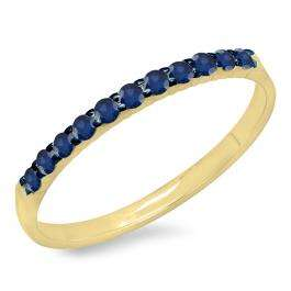0.20 Carat (ctw) 10k Yellow Gold Round Blue Sapphire Ladies Anniversary Wedding Ring Stackable Band 1/5 CT