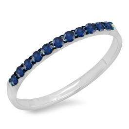 0.20 Carat (ctw) 14k White Gold Round Blue Sapphire Ladies Anniversary Wedding Ring Stackable Band 1/5 CT